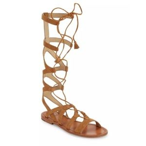 NEW 8.5 Frye Sand Suede Strappy Lace Up Sandal